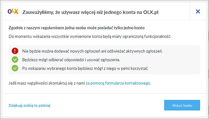 Komunikat o blokadzie OLX
