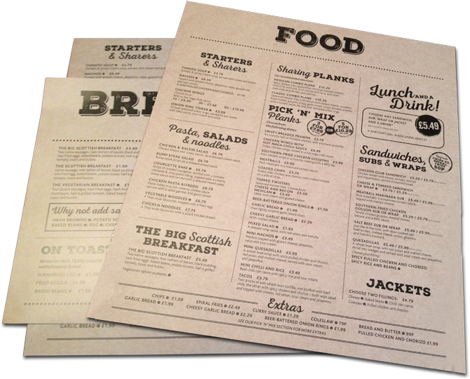 Inverness Caledonian menu