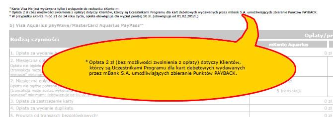 mBank taryfa opłat